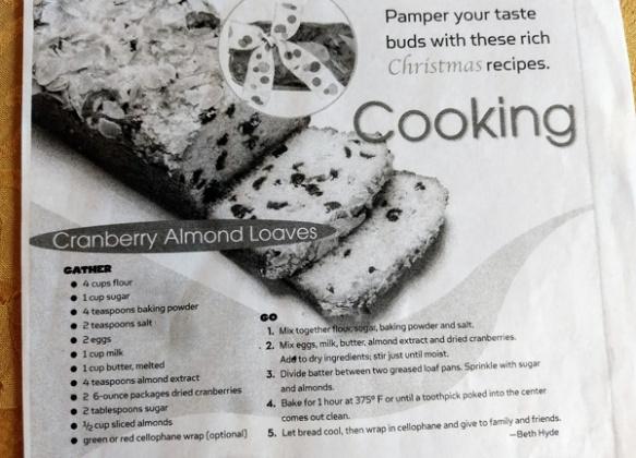 Cranberry Almond Loaf, original recipe